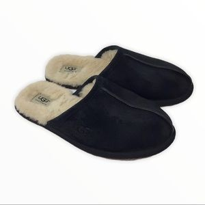 UGG | Black Suede Scuff Slippers Shearling 8